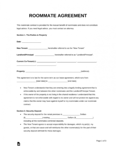 free free roommate room rental agreement template  pdf  word college roommate contract template pdf