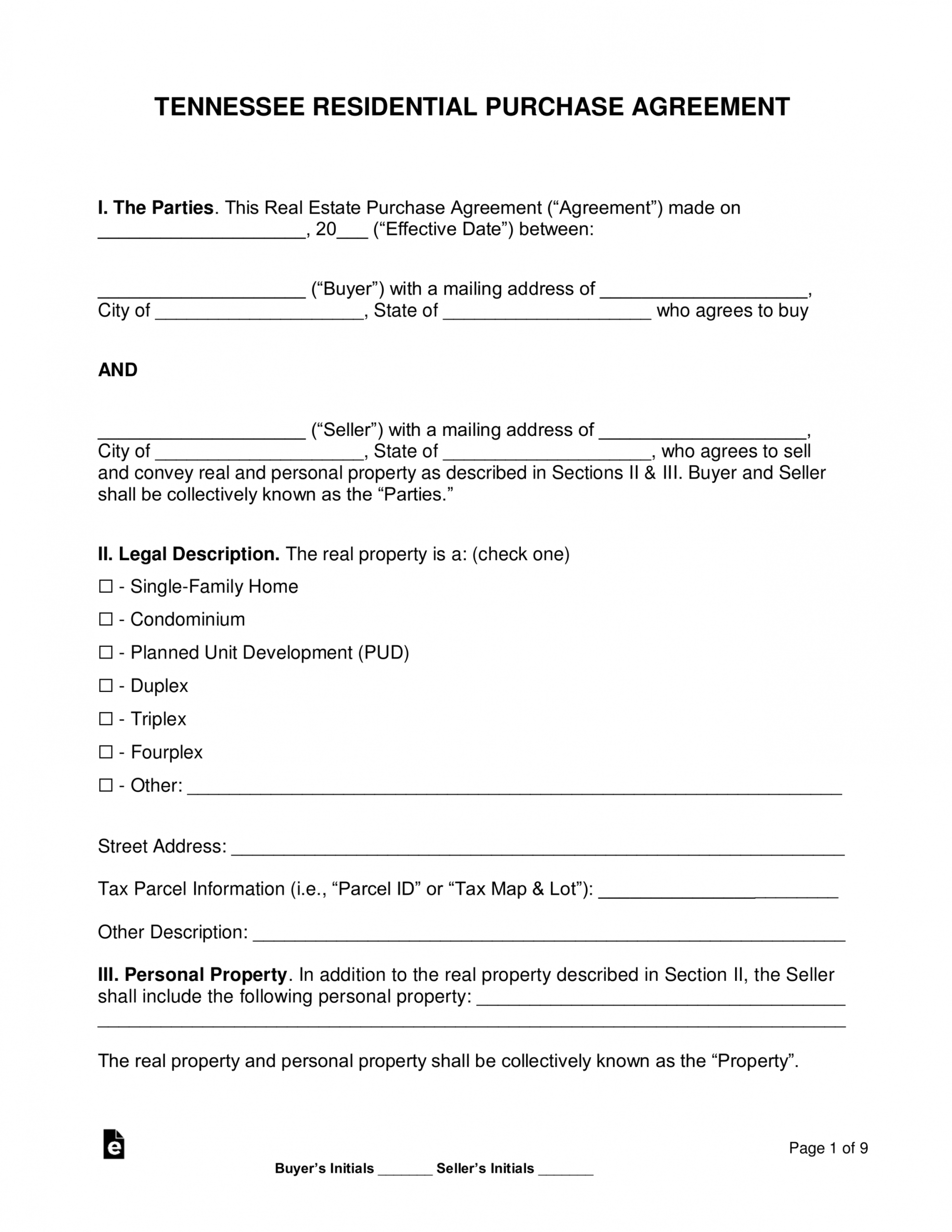 free free tennessee residential purchase and sale agreement house sale contract template sample
