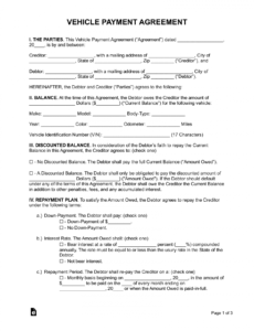 free free vehicle payment plan agreement  pdf  word  eforms vehicle payment contract template excel