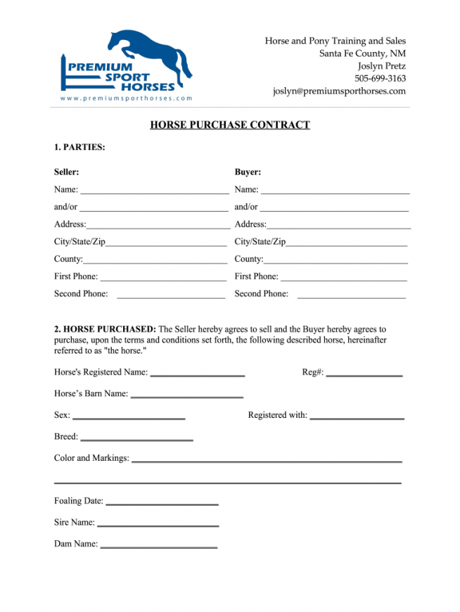 free horse adoption contract  fill online printable fillable horse adoption contract template example