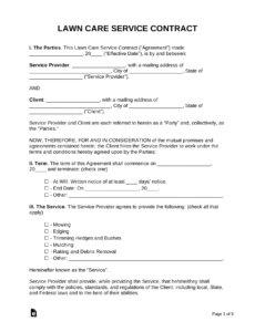 free lawn care contract template  samples  pdf  word no self harm contract template sample
