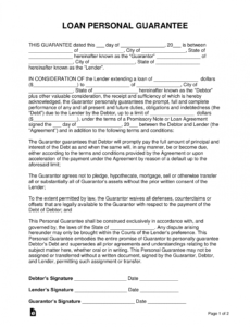 free loan personal guarantee form  cosign a loan  eforms letter of personal guarantee template doc