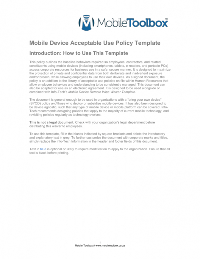 free mobile device acceptable use policy template acceptable use policy template