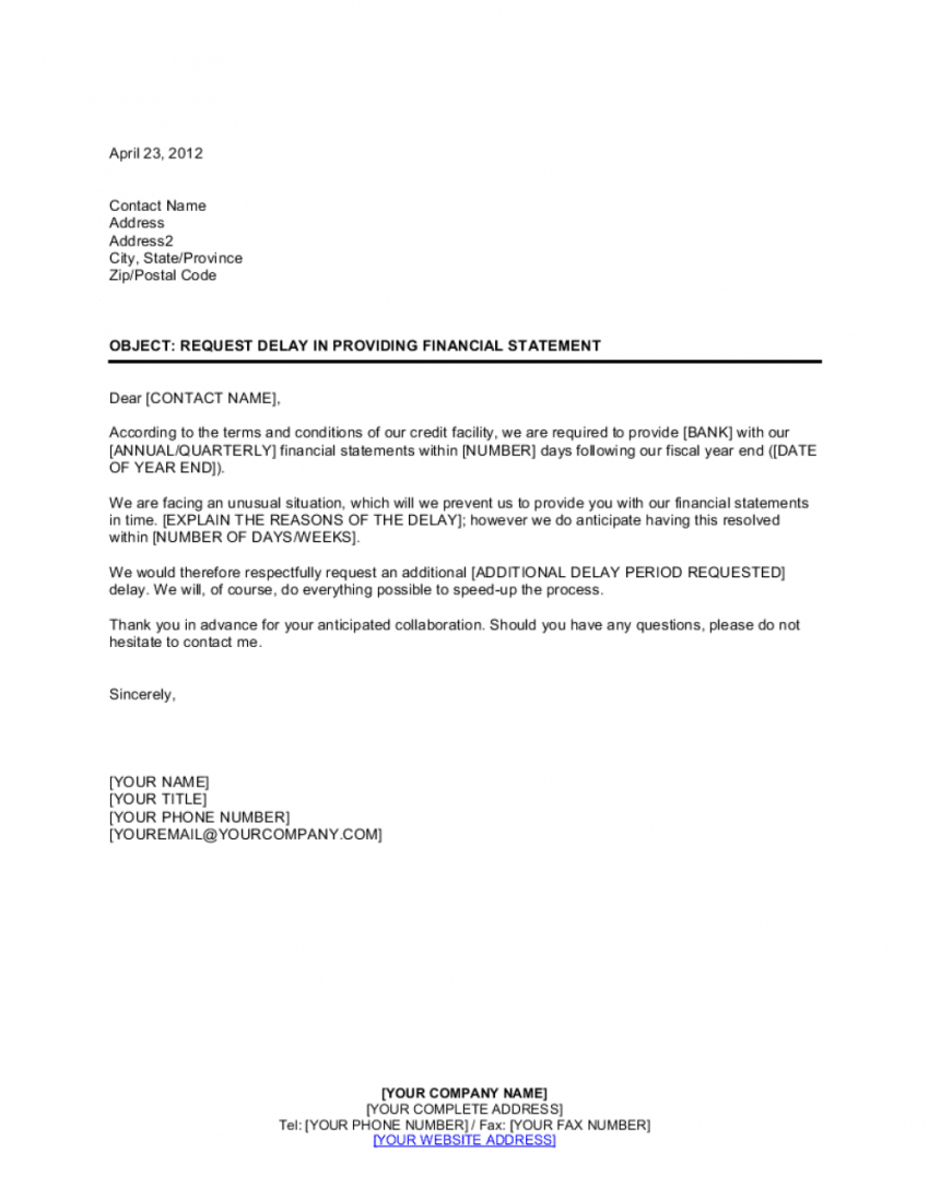 free request delay to present financial statement template  by formal statement template