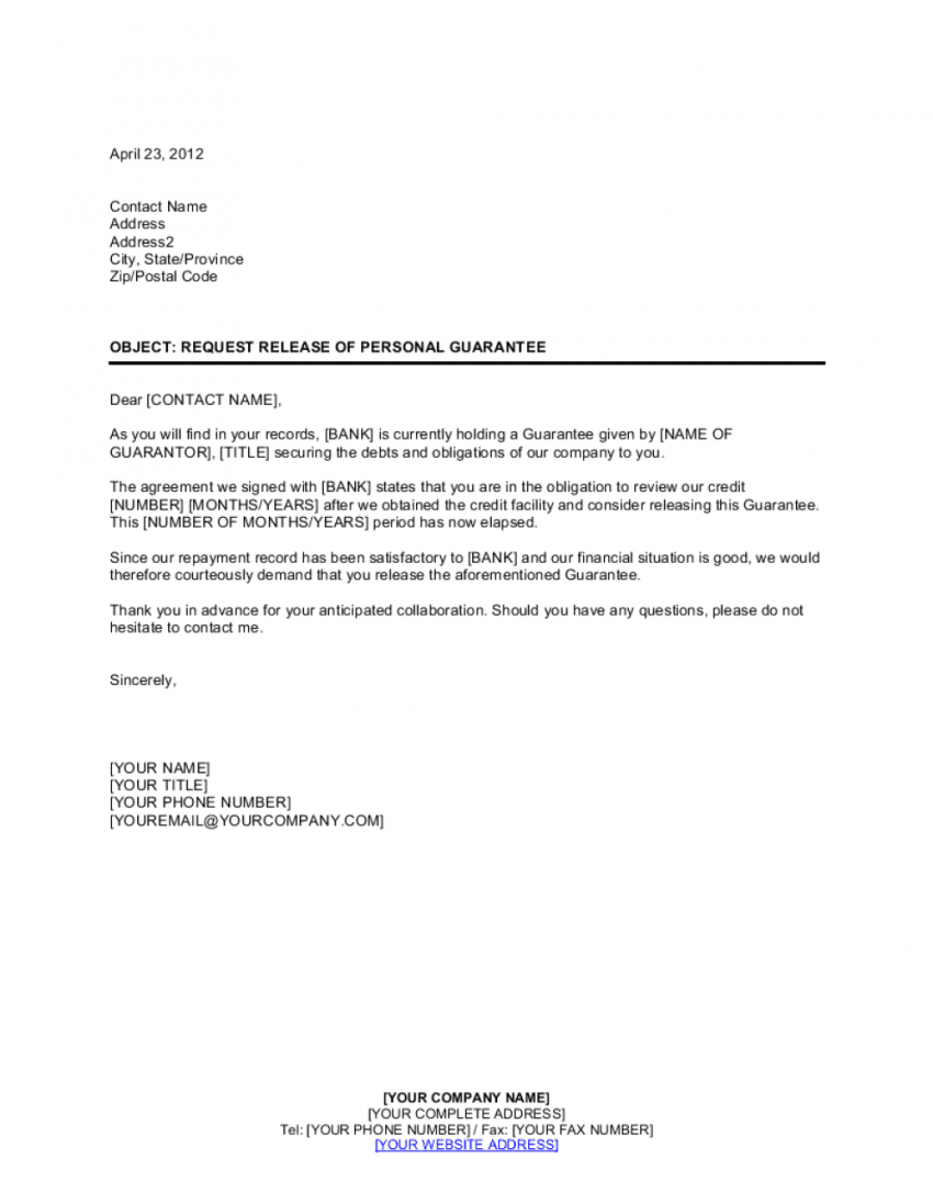 free request release of personal guaranty template  by business letter of personal guarantee template