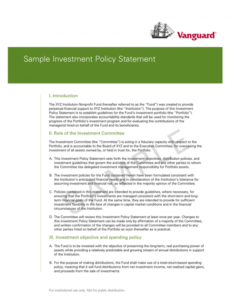 free sample investment policy statement  vanguard investment policy statement template for individuals word