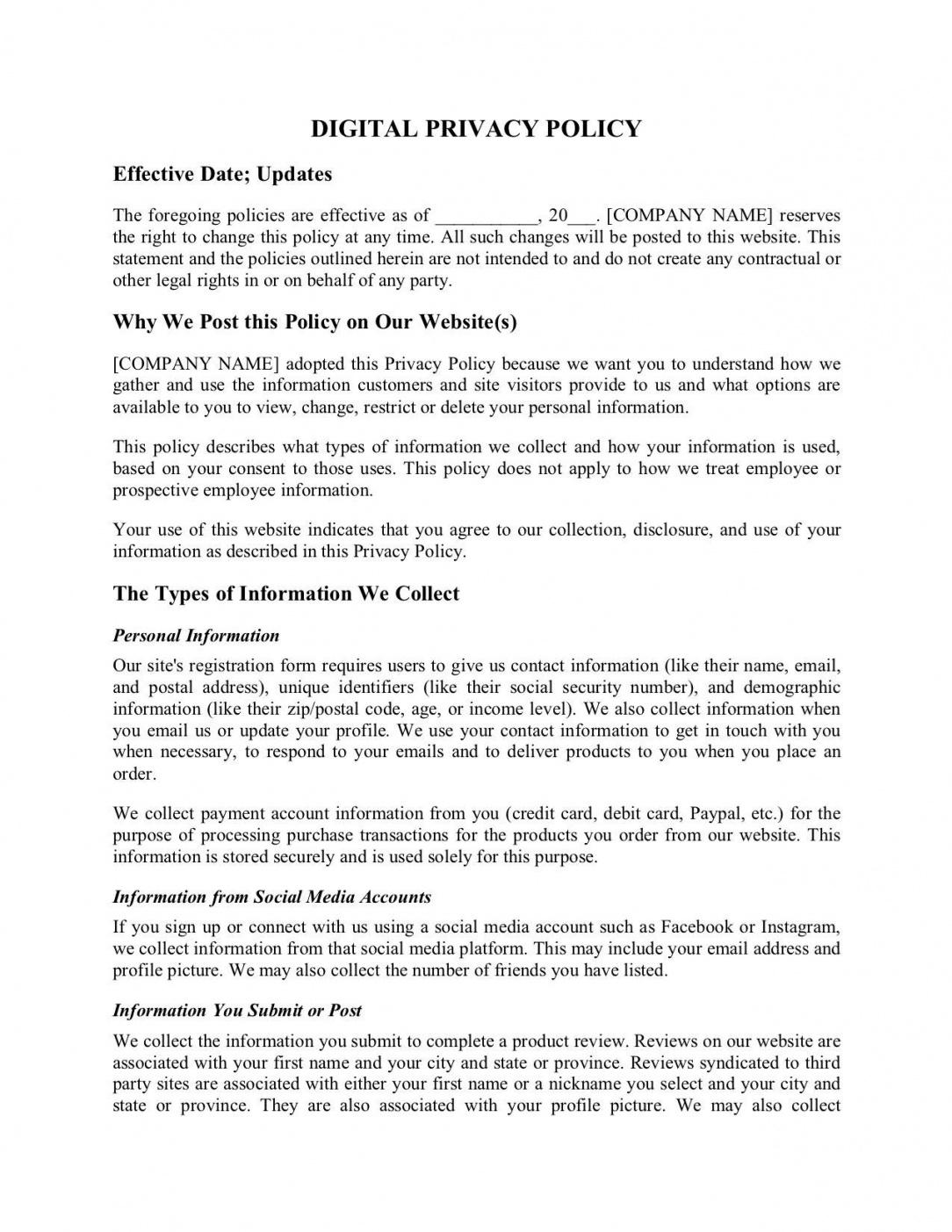 free website privacy policy privacy policy statement template
