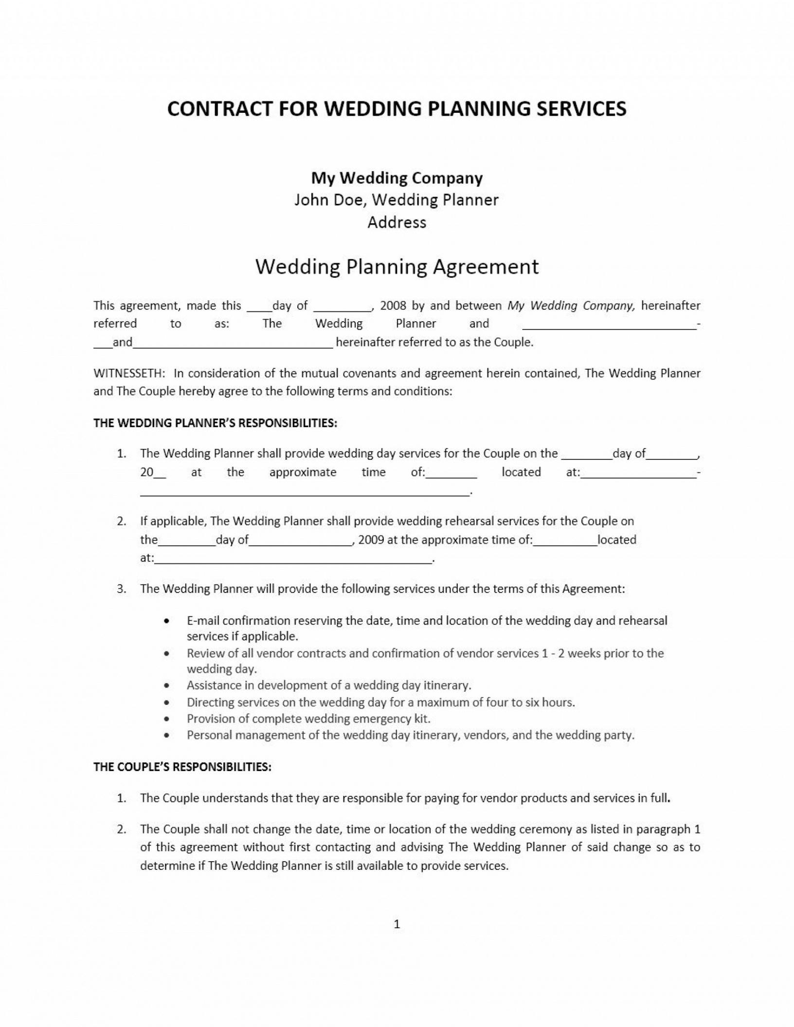 free wedding planner contract templates ~ addictionary wedding coordinator contract template sample