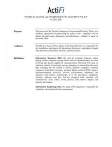 physical security policy template ~ addictionary physical security policy template sample