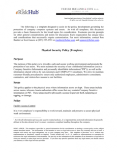 physical security policy template corporate security policy template example
