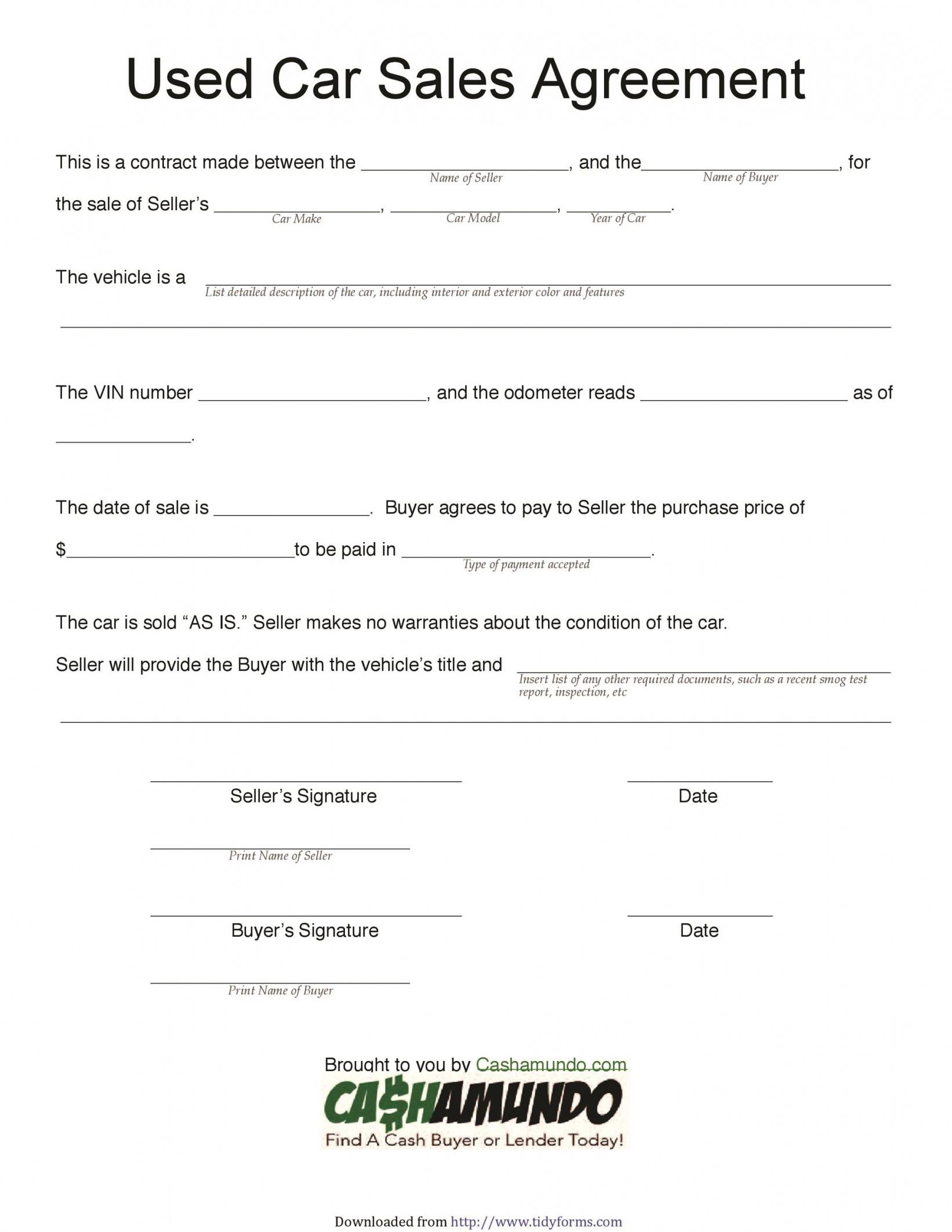printable 42 printable vehicle purchase agreement templates  templatelab vehicle payment contract template example