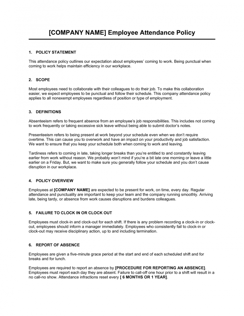 printable attendance policy template  by businessinabox™ employee attendance policy template word