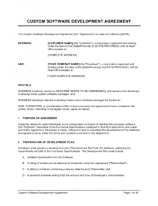 printable custom software development agreement template  by business software contractor contract template example