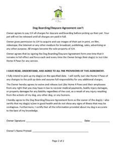 printable dog boardingdaycare agreement  a wordpress site pet boarding contract template sample