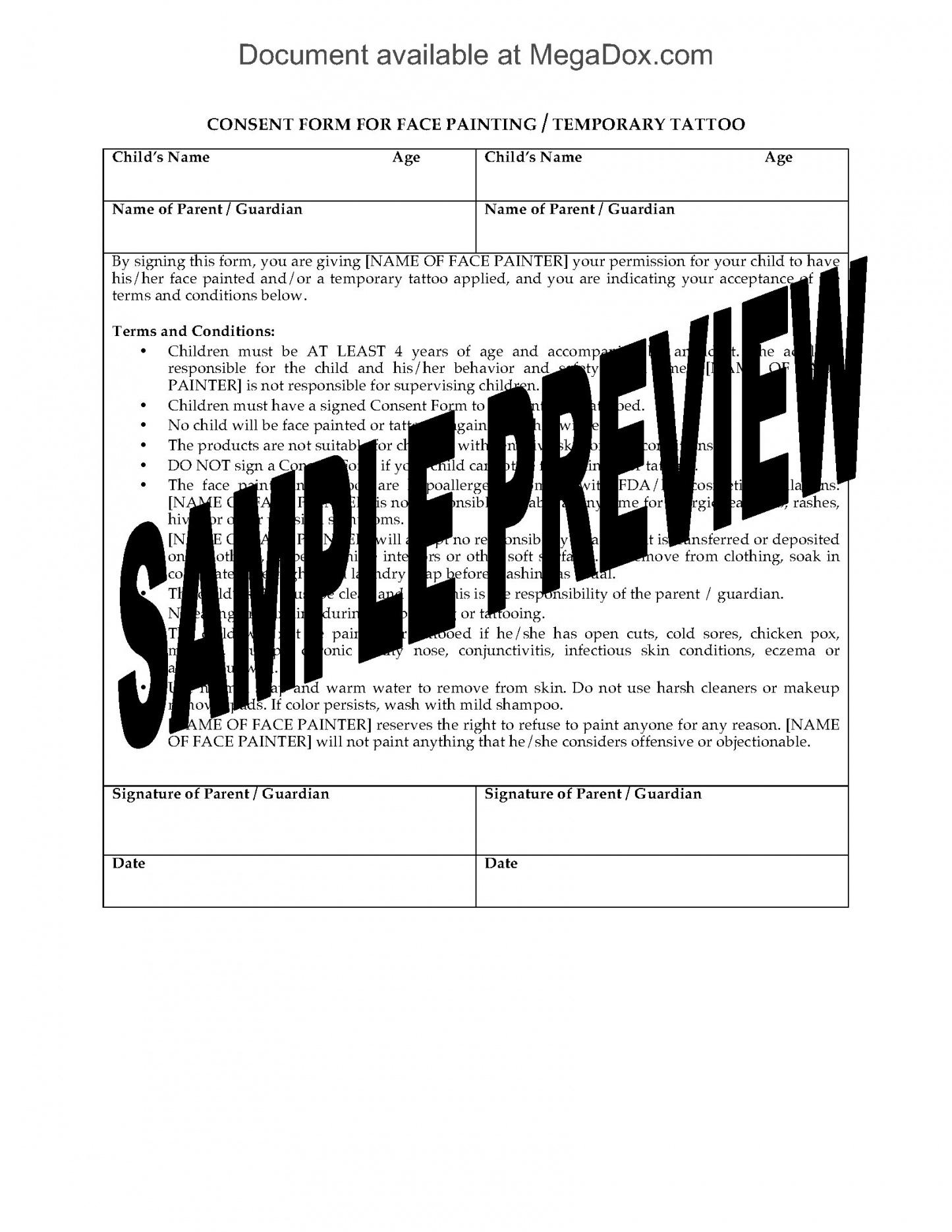 printable face painting consent and release forms face painting contract template doc
