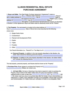 printable free illinois real estate purchase agreement template  pdf house sale contract template doc