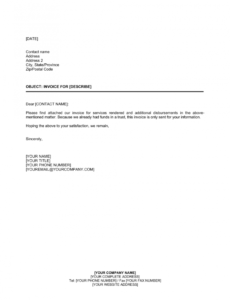 printable letter to customer invoice attached template  by business statement of services rendered template word