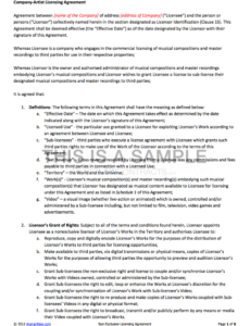 printable nonexclusive licensing contract music licensing contract template