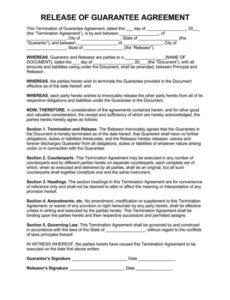 printable release of personal guarantee form agreement & request letter letter of personal guarantee template sample