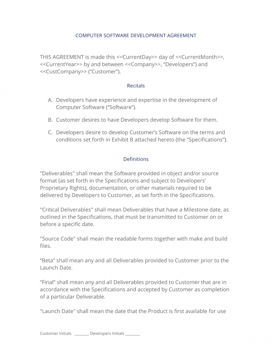 printable software development contract  3 easy steps software contractor contract template example