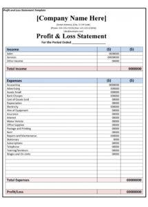 sample 35 profit and loss statement templates & forms home business profit and loss statement template example