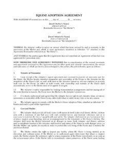 sample equine adoption agreement horse adoption contract template word