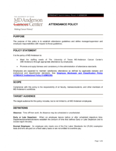 sample free 15 attendance policy examples in pdf  google docs employee attendance policy template doc