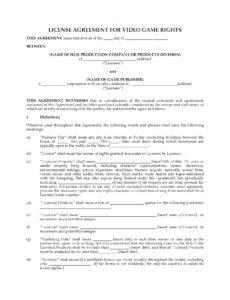 sample license agreement for video game rights video game contract template sample