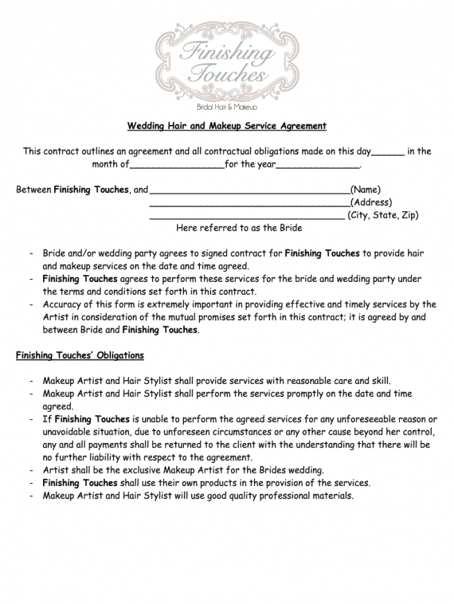 sample makeup agreement form  fill online printable fillable wedding makeup contract template doc