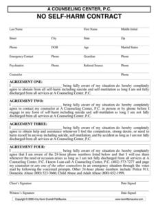 sample no harm contract pdf  fill online printable fillable no self harm contract template doc