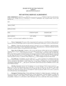 sample pet sitter contract forms package pet boarding contract template