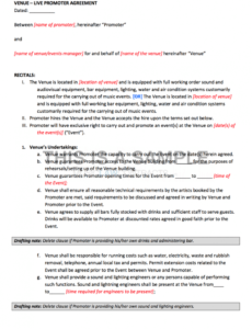 sample promoter  venue contract club promoter contract template pdf
