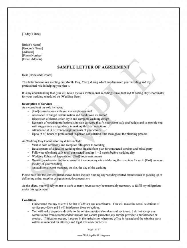 sample wedding planner contract  fill online printable fillable wedding coordinator contract template word