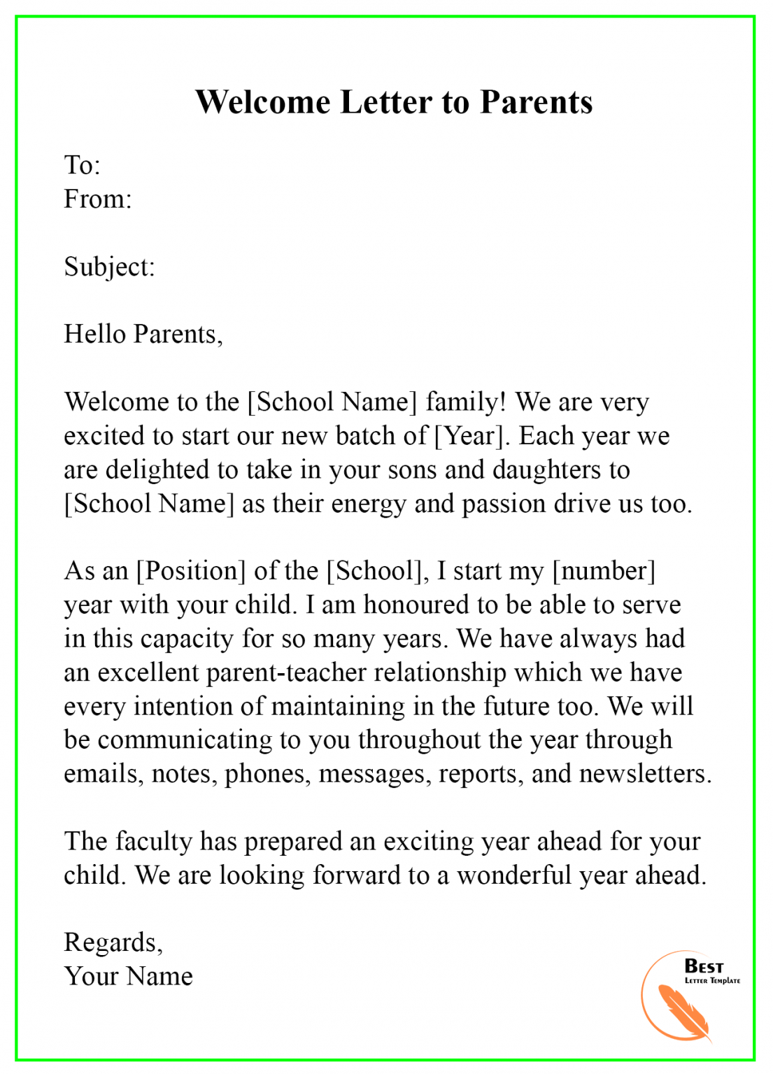 welcome letter template  format sample & example welcome back letter template