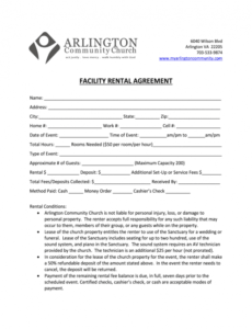 church lease agreement  fill online printable fillable hall rental contract template sample