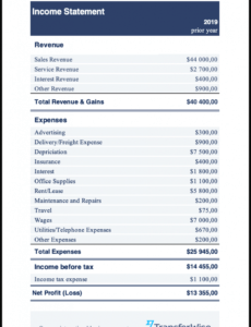 editable income statement example  sample  transferwise easy income statement template pdf