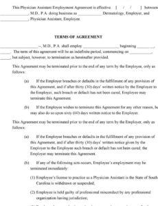 editable physician assistant employment agreement terms of agreement physician assistant employment contract template