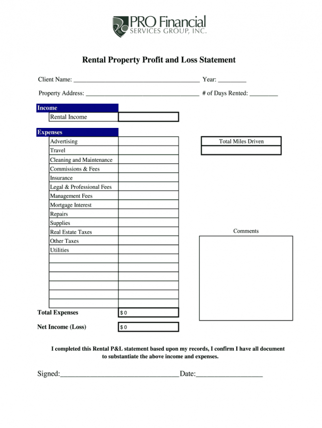 editable rental property statement  fill online printable fillable rental profit and loss statement template example