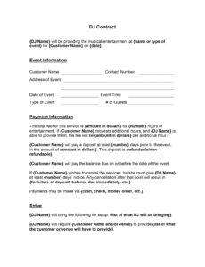 free dj contract template  wordtemplate contract for dj services template pdf