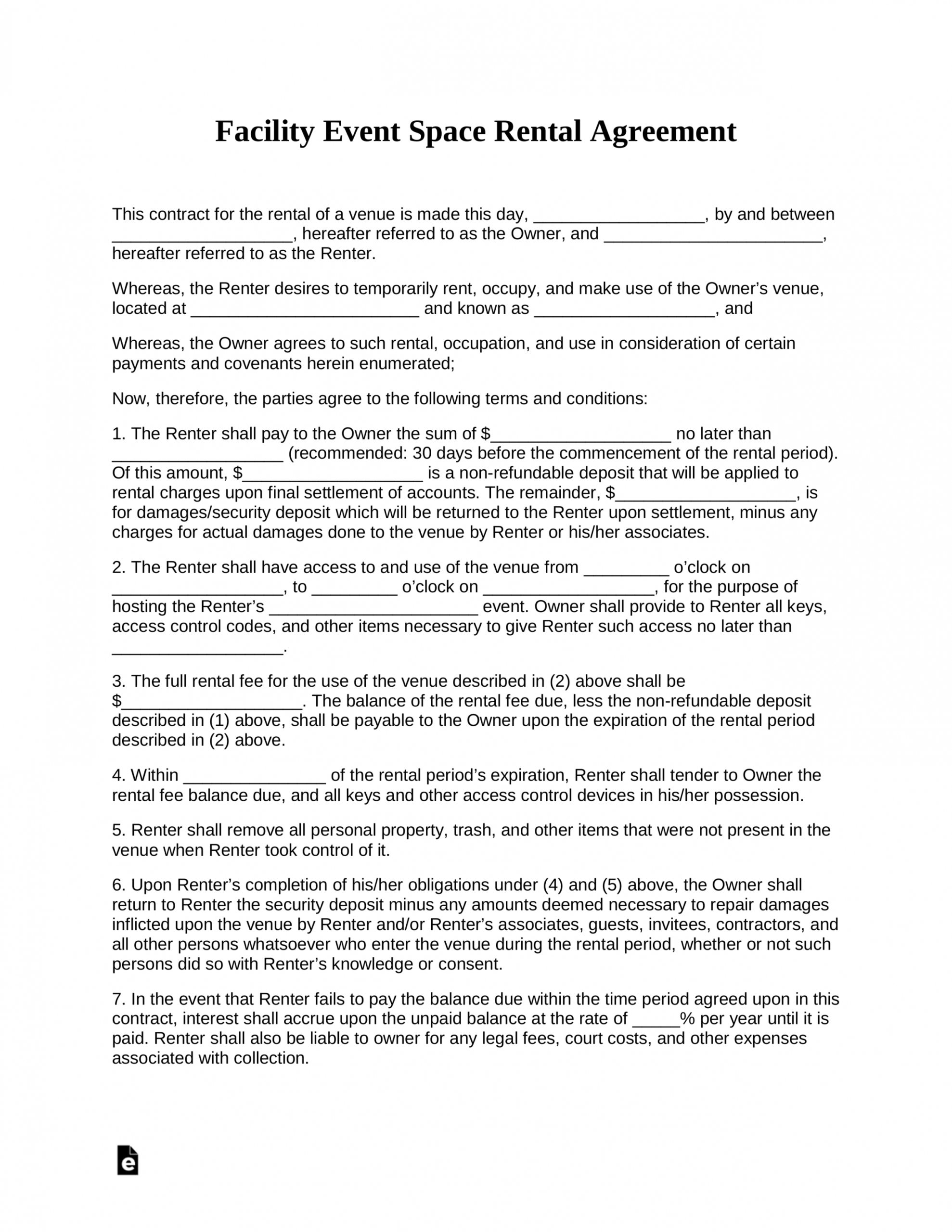 free event facility space rental agreement template  pdf hall rental contract template excel
