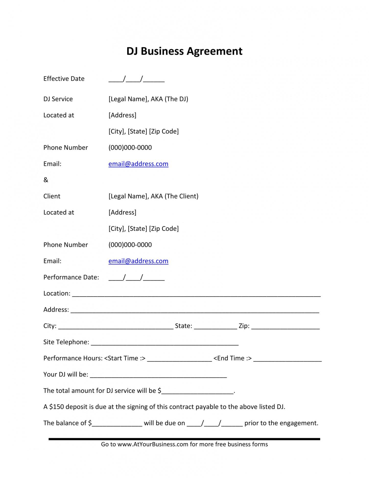 free free 6 dj contract forms  dj agreement equipment rental contract for dj services template example