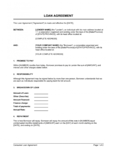 free loan agreement template  by businessinabox™ property loan agreement template excel