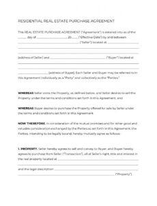 free real estate purchase agreement form 2020  official pdf pre sale contract template