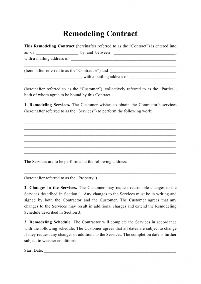free remodeling contract template download printable pdf construction remodel contract template word