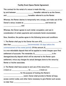 printable free facility event space rental agreement templates by state hall rental contract template pdf