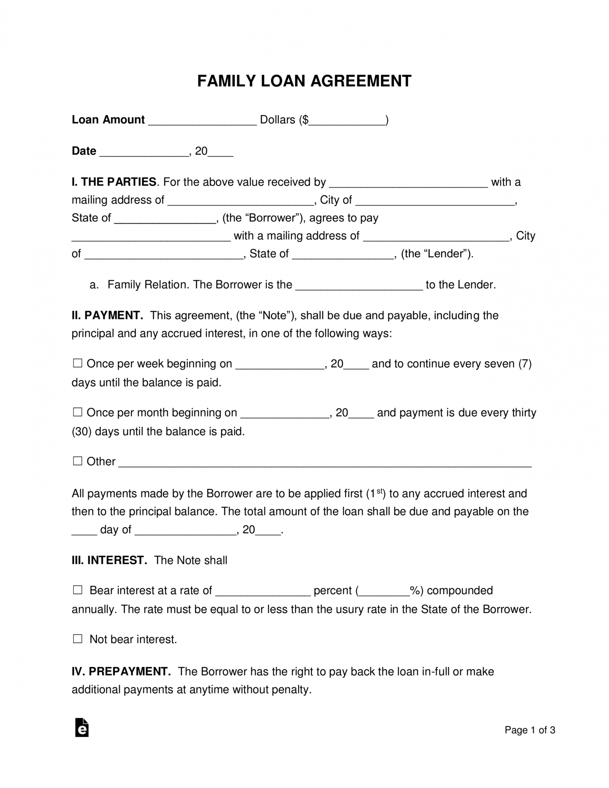 printable free family loan agreement template  pdf  word  eforms property loan agreement template sample