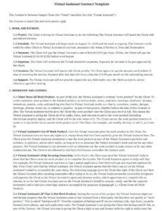 printable free virtual assistant contract template pdf  bonsai  bonsai personal assistant contract template sample