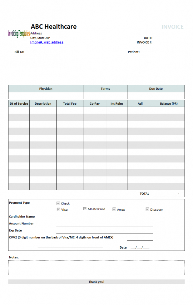 printable medical invoice template 1 medical bill statement template doc