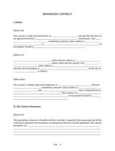 remodeling contract pdf  fill online printable fillable construction remodel contract template excel