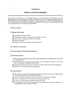 sample checklist website hosting agreement template  by business website hosting contract template doc